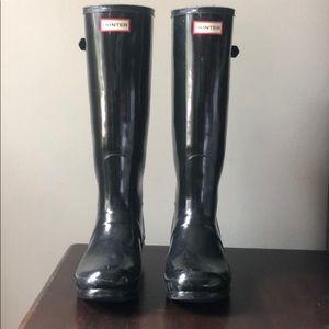 Tall Black Glossy Hunter Rain Boots
